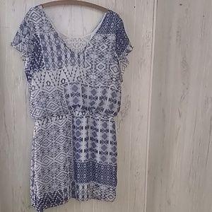 B. Smart Dresses - B. Smart blue white dress with lace detail